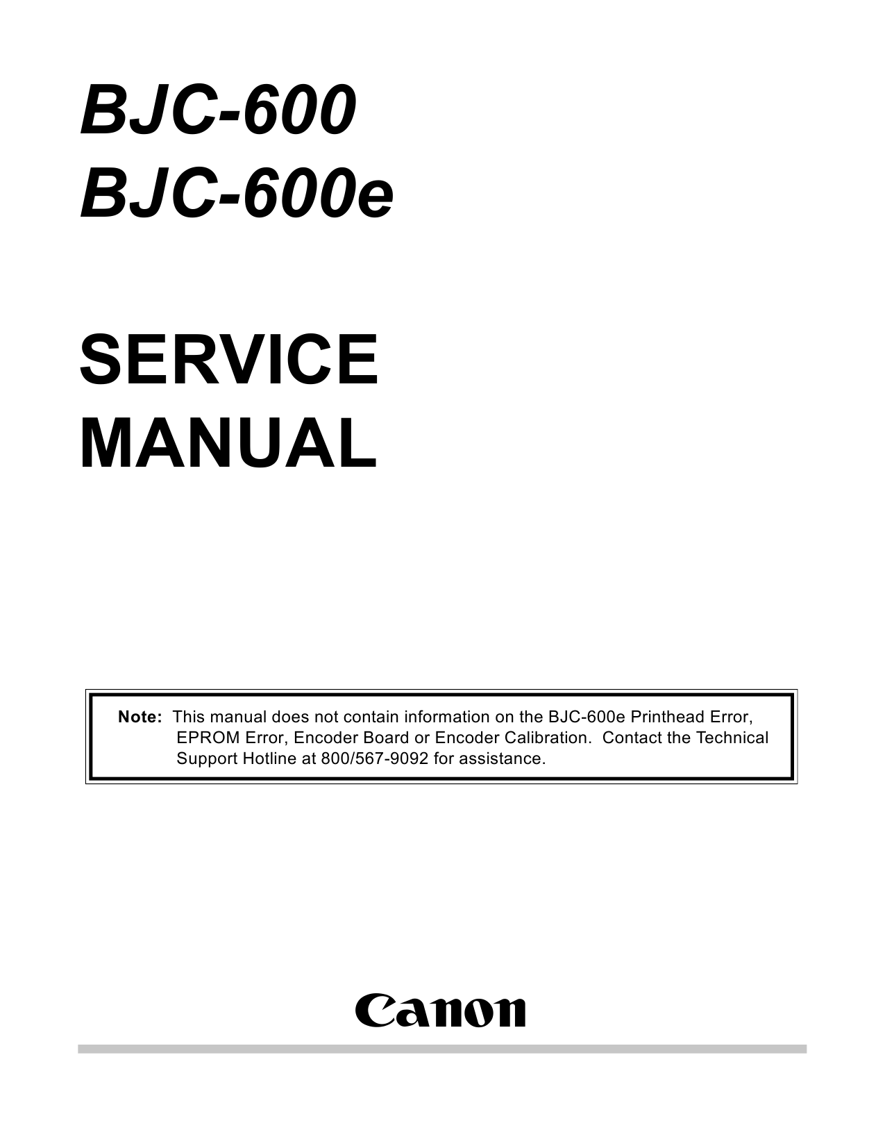 Canon BubbleJet BJC-600 600e Service Manual-1